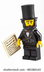 LONDON, UK - OCTOBER 15TH 2015: A Lego minifigure toy of Abraham Lincoln holding his Gettysburg Address speech, on 15th October 2015.