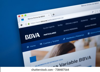 LONDON, UK - OCTOBER 17TH 2017: The homepage of the official website for BBVA - the multinational Spanish banking group, on 17th October 2017.