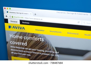 LONDON, UK - OCTOBER 17TH 2017: The homepage of the official website for AVIVA, the British multinational insurance company, on 17th October 2017.