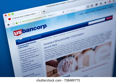 LONDON, UK - OCTOBER 17TH 2017: The homepage of the official website for US Bancorp - an American bank holding company based in Minneapolis, on 17th October 2017.