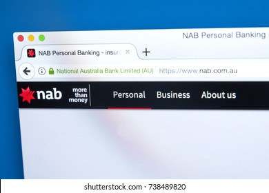 LONDON, UK - OCTOBER 17TH 2017: The homepage of the official website for the National Australia Bank, on 17th October 2017.