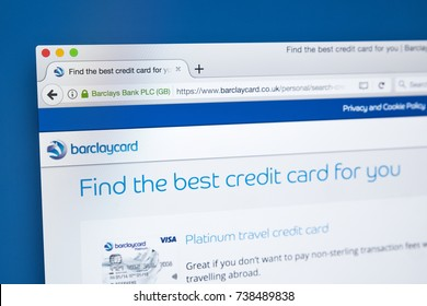 LONDON, UK - OCTOBER 17TH 2017: The homepage of the official website for Barclaycard, the credit card and payment services provider, and a division of Barclays, on 17th October 2017.