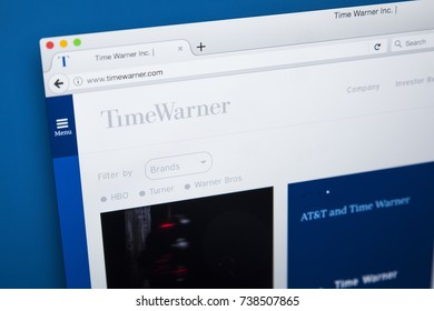 LONDON, UK - OCTOBER 17TH 2017: The homepage of the official website for Time Warner Inc - the American multinational mass media and entertainment conglomerate, on 17th October 2017.