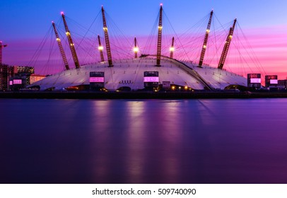 London, UK - October 18, 2016 - The O2 Arena at sunset against purple sky