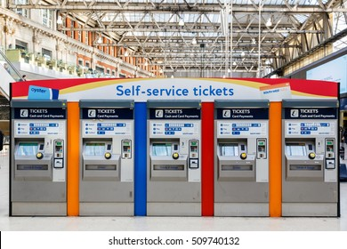 London, UK - October 18, 2016 - Self-service tickets machines at Waterloo train station