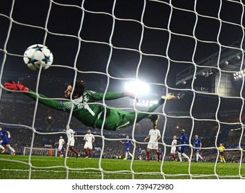 LONDON, UK - OCTOBER 18, 2017: Alisson Becker pictured in action during the UEFA Champions League Group C game between Chelsea FC and AS Roma at Stamford Bridge stadium.