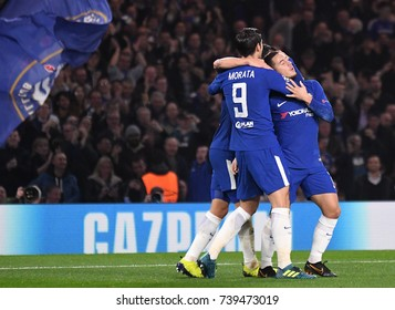 LONDON, UK - OCTOBER 18, 2017: Eden Hazard celebrates a goal scored during the UEFA Champions League Group C game between Chelsea FC and AS Roma at Stamford Bridge stadium.