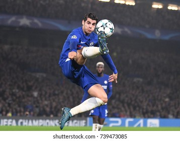 LONDON, UK - OCTOBER 18, 2017: Alvaro Morata pictured in action during the UEFA Champions League Group C game between Chelsea FC and AS Roma at Stamford Bridge stadium.