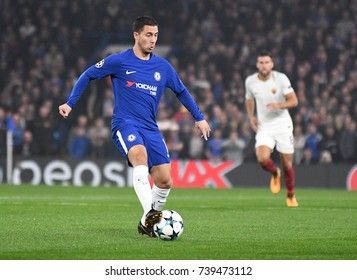 LONDON, UK - OCTOBER 18, 2017: Eden Hazard pictured in action during the UEFA Champions League Group C game between Chelsea FC and AS Roma at Stamford Bridge stadium.