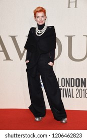 """LONDON, UK. October 18, 2018: Sandy Powell at the London Film Festival screening of """"The Favourite"""" at the BFI South Bank, London."""
