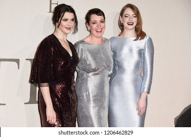 "LONDON, UK. October 18, 2018: Rachel Weisz, Olivia Colman and Emma Stone at the London Film Festival screening of ""The Favourite"" at the BFI South Bank, London."