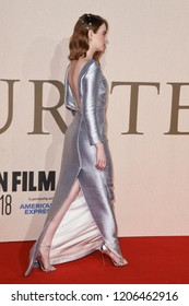 """LONDON, UK. October 18, 2018: Emma Stone at the London Film Festival screening of """"The Favourite"""" at the BFI South Bank, London."""