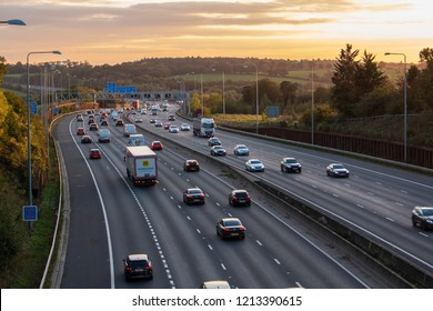 LONDON, UK - OCTOBER 18, 2018: Evening heavy traffic on busiest British motorway M25
