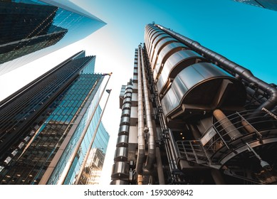 London, UK - October 18, 2019: London's iconic Lloyd's building, designed by architect Richard Rogers, also known as the Inside-Out building.