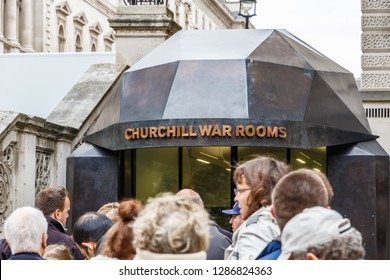 London, UK - October 19, 2018 - Tourists queueing to enter the Churchill War Rooms museum