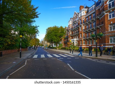 LONDON, U.K. - October 19, 2018: View of the famous zebra crossing at Abbey Road, featured on the cover of the Beatles album of the same name.