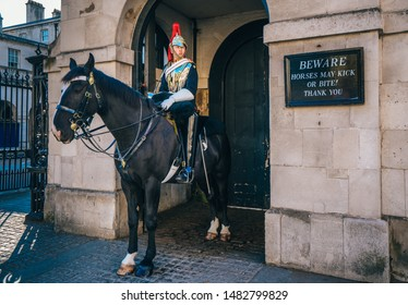LONDON, U.K. - October 19, 2018: A mounted trooper of the Household Cavalry on duty at Horse Guards.