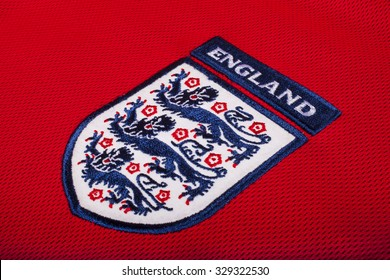 LONDON, UK - OCTOBER 19TH 2015: The Three Lions on an England football shirt, on 19th October 2015.