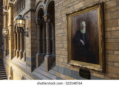 LONDON, UK - OCTOBER 1ST 2015: A painting of Alfred Russel Wallace in the Natural History Museum in London, on 1st October 2015.