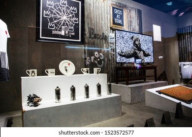 London, UK - October 2, 2019: Art on display by Banksy at the street artist's Gross Domestic Product temporary showroom in Croydon, South London.