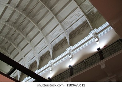 LONDON, UK - OCTOBER 20, 2013: the roof structure has wall uplight to illuminate the spatial ceiling inside the Victoria and Albert Museum.