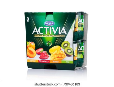LONDON, UK - OCTOBER 20, 2017: Pack of Activia yogurt on white background. Activia is a brand of yogurt owned by Groupe Danone.