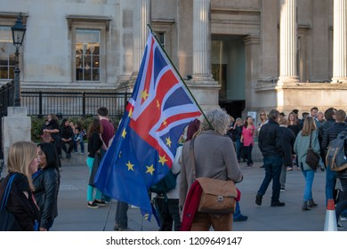London, UK - October 20, 2018 - Pro-EU protester holding flag at the People's Vote march
