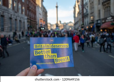 "London, UK - October 20, 2018 - Front page of postcard handed out at the People's Vote march reads ""Britain deserves Better than Brexit"""