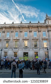 London, UK - October 20, 2018 - Pro-EU protesters standing in front of the Prime Ministry's Office at the People's Vote march