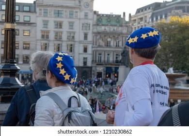 London, UK - October 20, 2018 - Pro-EU demonstrators wearing hats designating EU flag at the People's Vote march