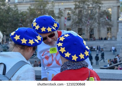 London, UK - October 20, 2018 - Pro-EU demonstrators wearing hats designating EU flag at the People's Vote march
