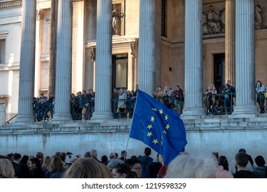 London, UK - October 20, 2018 - EU flag at the People's Vote march