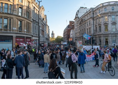 London, UK - October 20, 2018 - crowd at the People's Vote march