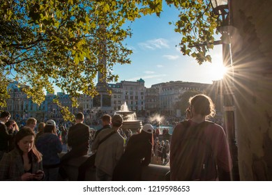 London, UK - October 20, 2018 - People watching the People's Vote march