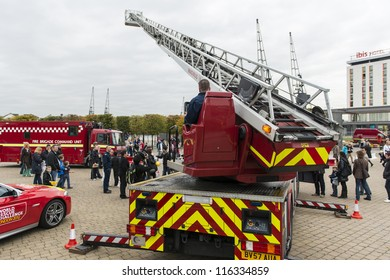 LONDON, UK - OCTOBER 20: Fire fighters from across the globe demonstrate their skills during the three days of the World rescue challenge. October 20, 2012 in London.