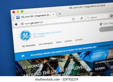 LONDON, UK - OCTOBER 2015: The homepage of the offficial General Electric website, on 20th October 2015.
