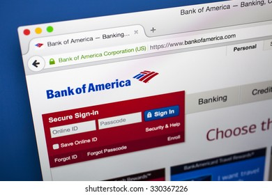 LONDON, UK - OCTOBER 2015: The homepage of the official Bank of America website, on 21st October 2015.