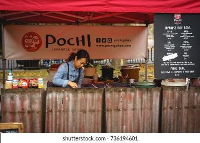 London, UK - October 2017. Japanese street food stall at Brockley Market, local farmer market held every Saturday in Lewisham.