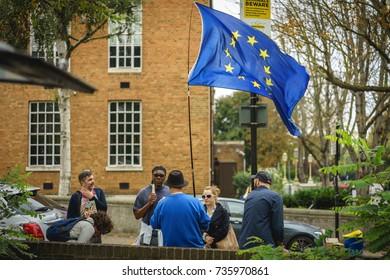 London, UK - October 2017. Pro EU campaigners in Lewisham.