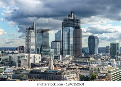 London, UK; October 2018; Aerial view of skyscrapers of the world famous bank district of central London
