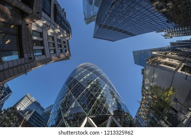 London, UK - October 2018: looking directly up at the London skyline in the financial district