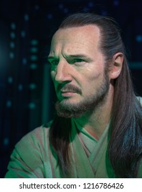 London, UK - October 2018: Madame Tussaud's Waxwork Museum, Liam Neeson as Qui-Gon Jinn from Star Wars episode 1, Realistic lifelike model