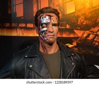 London, UK - October 2018: Madame Tussaud's Waxwork Museum, Arnold Schwarzenegger as The Terminator, Realistic lifelike model