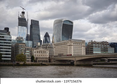 London, UK - October 2018. New skyscrapers under construction in the City, the famous financial district of London.