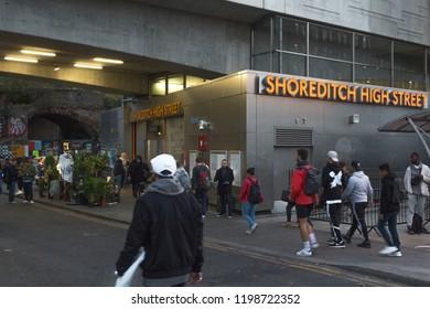 London/ UK - October 2018:  Shoreditch High Street overground station