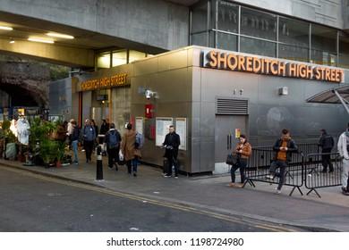 London/ UK - October 2018:  Shoreditch High Street overground station evening