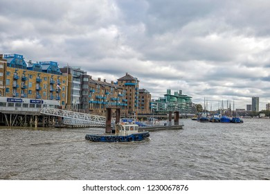 LONDON, UK- October, 2018. London skyline seen from the River Thames on a beautiful cloudy day, London
