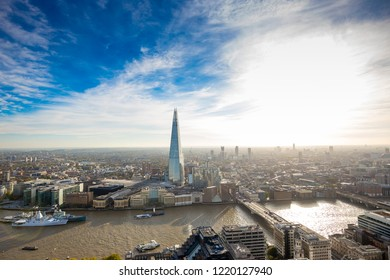 LONDON, UK - OCTOBER, 2018: Stunning sunset panorama view over the London cityscape and The Shard view from Sky Garden over Thames River in London.