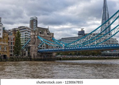 LONDON, UK- October, 2018. Tower Bridge in London on a beautiful cloudy day, England.