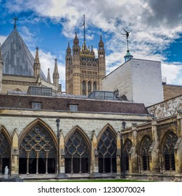 LONDON, UK- October, 2018. Westminster Abbey, The Collegiate Church of St Peter at Westminster - Gothic church in City of Westminster, London. Westminster is traditional place of coronation site for E